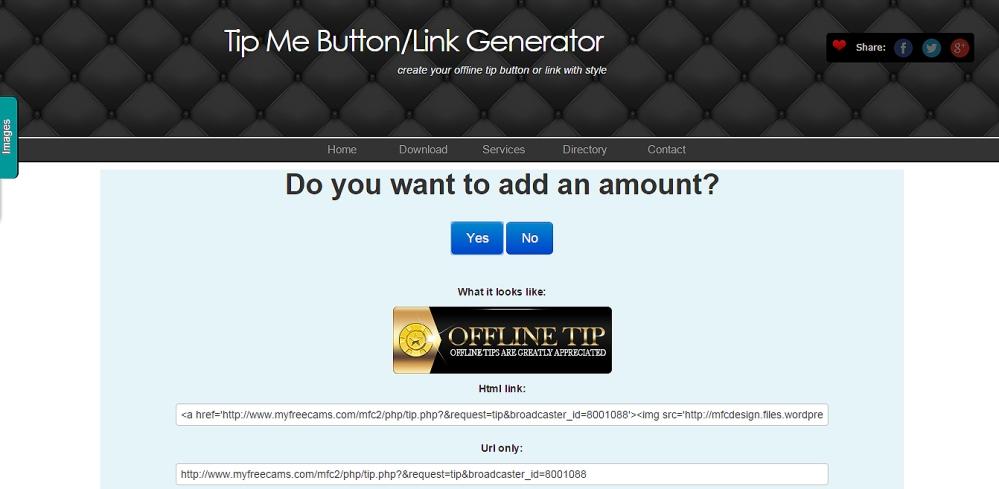 MyFreeCams Tip Me Offline button maker