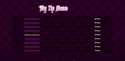 Custom MyFreeCams profile design Jaelyn - Tip Menu